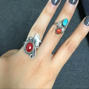 Sterling Silver Turquoise Coral Glass Ring Bundle